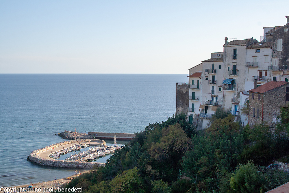 Sperlonga view: traditional houses on the cliff and port