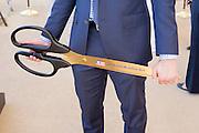 The large scissors used to cut the ribbon at the Groundbreaking Ceremony of USA Pavilion Expo Milano 2015, Rho-Pero, (Milan), July 16, 2014. &copy; Carlo Cerchioli<br /> <br /> Le grandi forbici usate per tagliare il nastro alla cerimonia di posa della prima pietra del padiglione USA di Expo Milano 2015, Rho-Pero, (Milano), 16 Luglio 2014.