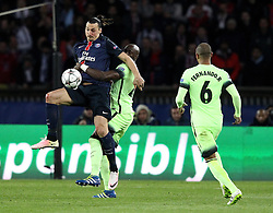 Zlatan Ibrahimovic of Paris Saint-Germain controls the ball under pressure from Eliaquim Mangala of Manchester City - Mandatory by-line: Robbie Stephenson/JMP - 06/04/2016 - FOOTBALL - Parc des Princes - Paris,  - Paris Saint-Germain v Manchester City - UEFA Champions League Quarter Finals First Leg
