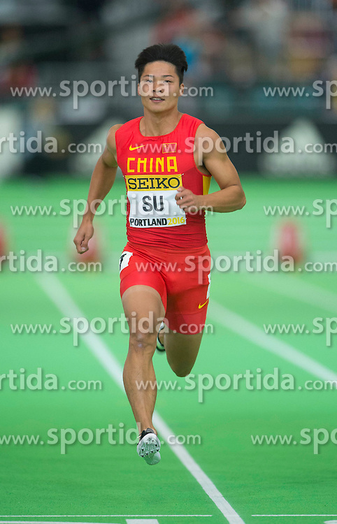 Su Bingtian of China competes in the men's 60 metres heats during day two of the IAAF World Indoor Championships at Oregon Convention Center in Portland, Oregon, the United States, on March 18, 2016. EXPA Pictures &copy; 2016, PhotoCredit: EXPA/ Photoshot/ Yang Lei from Chongqing<br /> <br /> *****ATTENTION - for AUT, SLO, CRO, SRB, BIH, MAZ, SUI only*****