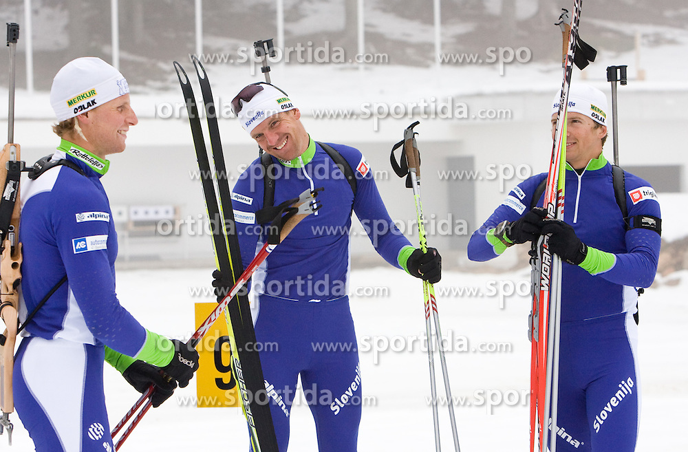 Klemen Bauer, Janez Maric and Peter Dokl at training session of Slovenian biathlon team before new season 2009/2010,  on November 16, 2009, in Pokljuka, Slovenia.   (Photo by Vid Ponikvar / Sportida)