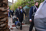 Jan 8, 2016; Scottsdale, AZ, USA; Clemson Tigers linebacker Quintin Hall (center) arrives with teammates at the Hyatt Regency Scottsdale Resort at Gainey Ranch. Mandatory Credit: Jennifer Stewart-USA TODAY Sports