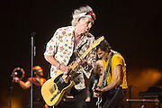 Keith Richards and Ron Wood of the Rolling Stones perform at Cidudad Deportiva on March 25, 2016, in Havana, Cuba.