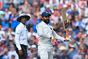 50 for Ravindra Jadeja of India - Ravindra Jadeja of India celebrates scoring a half century by waving his bat enthusiastically during day 3 of the 5th test match of the International Test Match 2018 match between England and India at the Oval, London, United Kingdom on 9 September 2018.