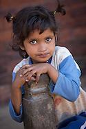 Little girl at Taumadhi Square in Bhaktapur, Nepal.