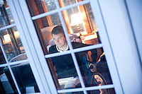 29 December, 2009. Bronxville, NY. Francesco Clark, 30, founder and president of Clark's Botanicals, is here in his home office in Bronxville. Francesco Clark suffers a crippling cord injury due to a swimming pool diving accident on June 1, 2002. Clark's Botanicals was born out of the tragedy.<br /> With his central nervous system impaired, Francesco, who was then an assistant stylist at Harper's Bazar, lost the ability not only to walk, but even to sweat. This led to clogged pores and chronic breakouts. When neither over-the-counter nor prescriptive remedies worked, he turned to his father, Dr. Harold Clark, a physician trained in both traditional Western medicine and homeopathy.<br /> <br /> Together they developed botanically-based formulas that effectively rebalanced Francesco's skin, clearing it up entirely. Through word-of-mouth, other people discovered and fell in love with these products, and in 2005, Francesco began selling Clark's Botanicals on his website.<br /> ©2009 Gianni Cipriano for The New York Times<br /> cell. +1 646 465 2168 (USA)<br /> cell. +1 328 567 7923 (Italy)<br /> gianni@giannicipriano.com<br /> www.giannicipriano.com