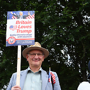 Pro-Trump rally to Welcoming Trump to London Rally - Make Britain Great Again outside US Embassy, London, UK. July 14 2018.