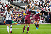 Martha Thomas (West Ham) throws her arms in the air during the FA Women's Super League match between West Ham United Women and Tottenham Hotspur Women at the London Stadium, London, England on 29 September 2019.