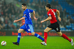 Watford Forward Alexandre Geijo (SUI) runs forward as Cardiff Defender Mark Hudson (ENG) chases back during the first half of the match - Photo mandatory by-line: Rogan Thomson/JMP - Tel: Mobile: 07966 386802 23/10/2012 - SPORT - FOOTBALL - Cardiff City Stadium - Cardiff. Cardiff City v Watford - Football League Championship