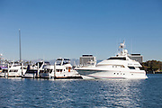 Yachts in Dock Slips at Marina Del Rey Harbor