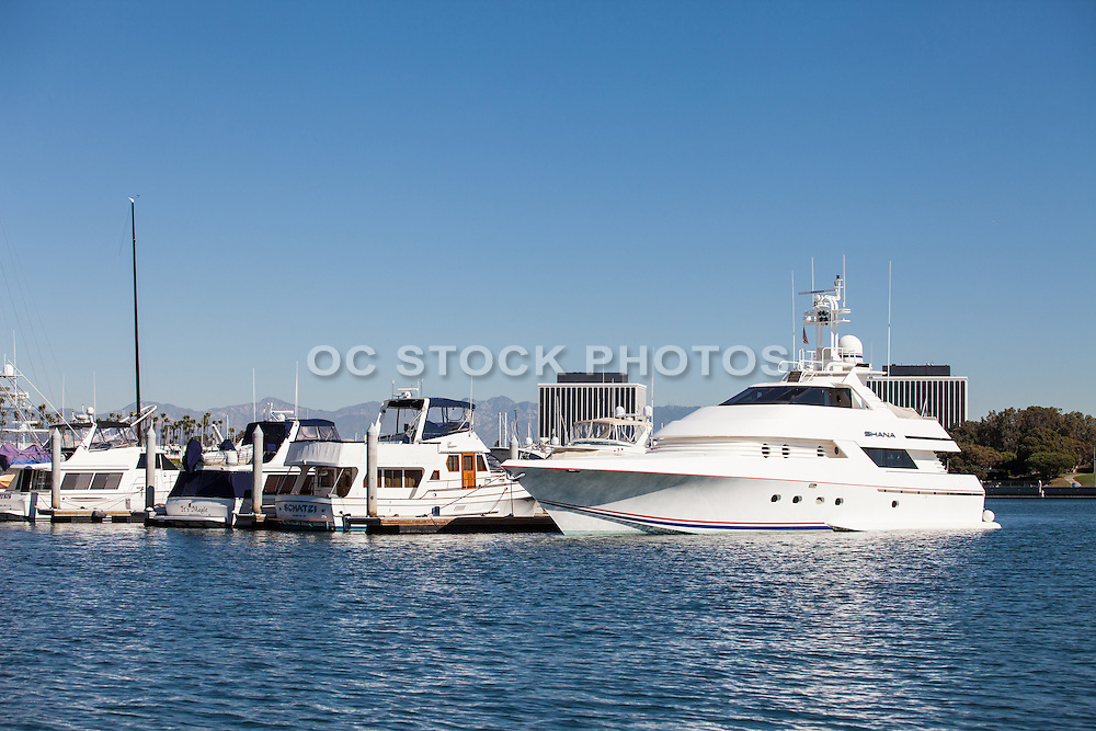 Yachts in Dock Slips at Marina Del Rey Harbor