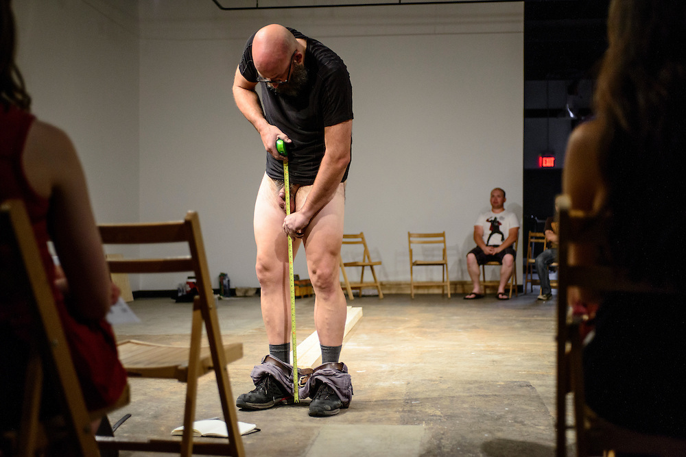 Canada, Edmonton. Sept/12/2013. Latitude 53 Visualeyez 2013: Vulnerability. Performance piece by Jeff Huckleberry.