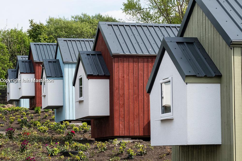 View of new wooden houses at the Social Bite Village in Granton built by Social Bite organisation for homeless people, Edinburgh, Scotland, United Kingdom, UK