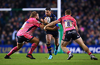 Rugby Union - 2017 / 2018 European Rugby Champions Cup - Pool Three: Leinster vs. Exeter Chiefs<br /> <br /> Leinster's Rob Kearney is tackled by Exeter's Tom Francis and Sam Simmonds, at Aviva Stadium, Dublin.<br /> <br /> COLORSPORT/KEN SUTTON