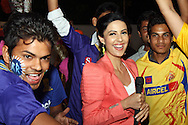 Television presenter outside the stadium interviewing fans during the first semi-final match of the Karbonn Smart Champions League T20 (CLT20) 2013  between the Rajasthan Royals and the Chennai Super Kings held at the Sawai Mansingh Stadium in Jaipur on the 4th October 2013. Photo by Jacques Rossouw-CLT20-SPORTZPICS<br /> <br /> Use of this image is subject to the terms and conditions as outlined by the CLT20. These terms can be found by following this link:<br /> <br /> http://sportzpics.photoshelter.com/image/I0000NmDchxxGVv4