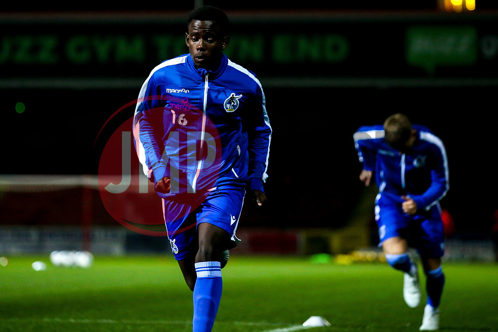 Henry Njonjo of Bristol Rovers warms up  - Mandatory by-line: Robbie Stephenson/JMP - 29/10/2019 - FOOTBALL - County Ground - Swindon, England - Swindon Town v Bristol Rovers - FA Youth Cup Round One