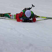 Winter Olympics, Vancouver, 2010.Nadezhda Skardino, Bulgaria, feels the pain after finishing during the Women's 7.5 KM Sprint Biathlon at The Whistler Olympic Park, Whistler, during the Vancouver  Winter Olympics. 13th February 2010. Photo Tim Clayton