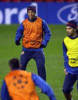 Photo: Paul Thomas.<br />Barcelona training session. UEFA Champions League. 05/03/2007.<br /><br />Ronaldinho of Barcelona.