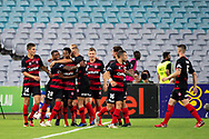 SYDNEY, NSW - JANUARY 18: Western Sydney Wanderers celebrate the goal of midfielder Roly Bonevacia (28) at the Hyundai A-League Round 14 soccer match between Western Sydney Wanderers and Adelaide United at ANZ Stadium in NSW, Australia 18 January 2019. Image by (Speed Media/Icon Sportswire)