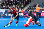 Hampstead & Westminster's Sam French. Hampstead & Westminster v Surbiton - Men's Hockey League Final, Lee Valley Hockey & Tennis Centre, London, UK on 29 April 2018. Photo: Simon Parker