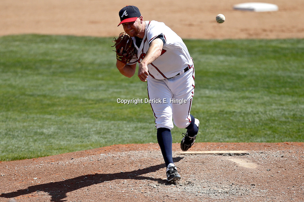 March 18, 2012; Lake Buena Vista, FL, USA; Atlanta Braves relief pitcher Jonny Venters (39) against the Baltimore Orioles during a spring training game at Disney Wide World of Sports complex. Mandatory Credit: Derick E. Hingle-US PRESSWIRE