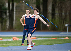 Greg Nelson throws the javelin for Virginia.  The Virginia Cavaliers men's and women's track and field teams hosted the Missouri Tigers.  The Virginia women defeated Missouri while the Mizzou men defeated UVA on April 5, 2008 at The University of Virginia's Lannigan Field in Charlottesville, VA.