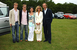 Left to right, HARRY RUTHERFORD, TOM RUTHERFORD, NAOMI FRANKS and ANGIE & MIKE RUTHERFORD at the Kuoni World Class Polo Day held at Hurtwood Park Polo Club, Surrey on 29th May 2005.<br />