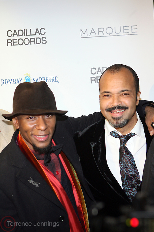 """l to r: Mos Def and Jefferey Wright at the ' Cadillac Records' premiere at held at AMC Broadway 19th Street on Decemeber 1, 2008 in NYC..In this tale of sex,, violence, race, and rock and roll in the 1950's Chicago, 'Cadillac Records"""" follows the exciting but turbulent lives of some America's musical legends including Muddy Waters, Leonard Chess, Little Walter, Howlin' Wolf, Chuck Berry and Etta James."""