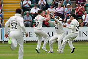 Wicket - Tom Abell of Somerset celebrates taking the wicket of Billy Root of Nottinghamshire during the Specsavers County Champ Div 1 match between Somerset County Cricket Club and Nottinghamshire County Cricket Club at the Cooper Associates County Ground, Taunton, United Kingdom on 10 June 2018. Picture by Graham Hunt.