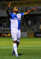 Jermaine Easter of Bristol Rovers celebrates his goal which makes it 2-0 - Mandatory byline: Dougie Allward/JMP - 07966 386802 - 06/10/2015 - FOOTBALL - Memorial Stadium - Bristol, England - Bristol Rovers v Wycombe Wanderers - JPT Trophy