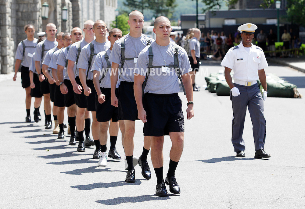 New cadets learn to march in formation during R-Day at the U.S. Military Academy at West Point on Monday, July 2, 2012.