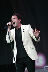 Brandon Flowers of The Killers, at T in the Park 2005, on the main stage at T in the Park, 10th July 2005..©Michael Schofield..