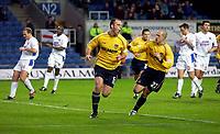 Photo: Richard Lane.<br />Oxford United v Carlisle United. Nationwide Division Three. 13/12/2003.<br />Andy Crosby celebrates scoring Oxford's second goal.