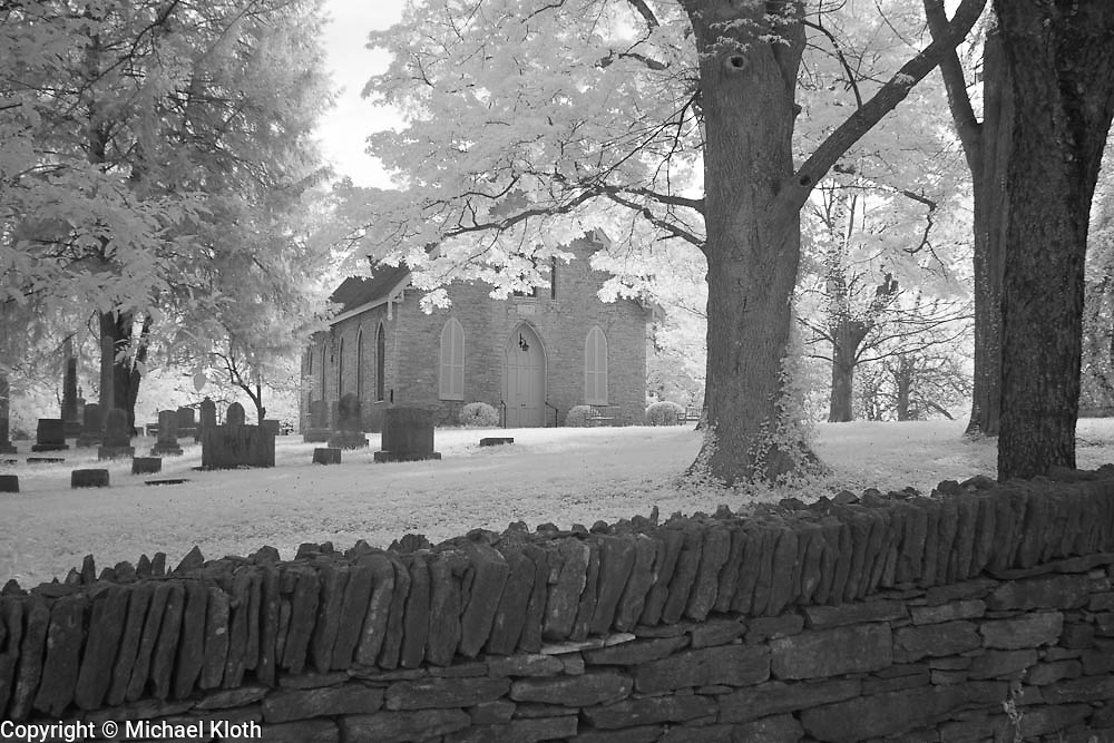 Rural Kentucky church and cemetery.  Infrared (IR) landscape photograph by fine art photographer Michael Kloth. Black and white infrared photographs