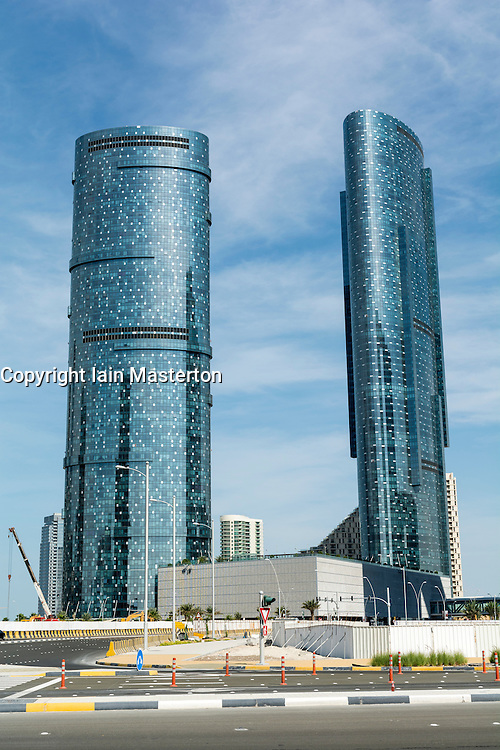 Modern new recently completed high-rise apartment towers at Al Reem Island on Al Reem Island in Abu Dhabi United Arab Emirates UAE