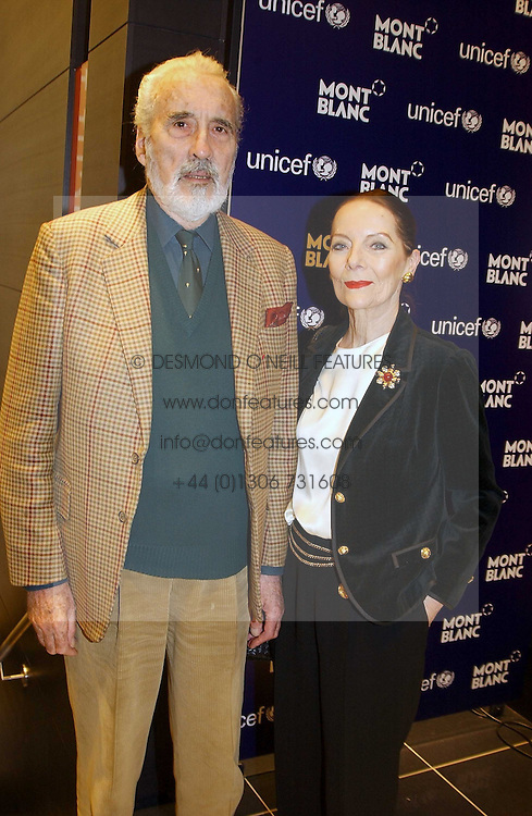 Actor CHRISTOPHER LEE and his wife at a party to celebrate the opening of the new Mont Blanc store at 151 Sloane Street, London on 9th March 2005.  The evening was held in conjunction with UNICEF's &quot;Sign up for the right to write&quot; campaign which is raising money though the sale of celebraties 'statements' currently for auction on the ebay website.<br />
