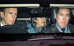 © Licensed to London News Pictures. 26/03/2019. London, UK. British Prime Minister THERESA MAY is seen being driven from the Houses of Parliament in London. MPs have passed an amendment which gives Parliament a series of indicative votes on alternatives to Prime Minister Theresa May's Brexit deal. Photo credit: Ben Cawthra/LNP