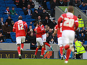 Ademola Lookman celebrates after opneing the scoring during the Sky Bet Championship match between Brighton and Hove Albion and Charlton Athletic at the American Express Community Stadium, Brighton and Hove, England on 5 December 2015. Photo by Bennett Dean.