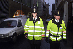 Police guard the streets of the city in case of any riots here they are in Dowgate Hill, London, UK, April 28, 2000. Photo by Andrew Parsons / i-images..