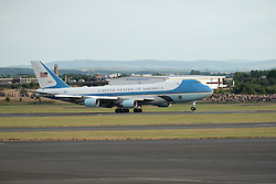 Prestwick Airport, Scotland, UK. 13 July, 2018. President Donald Trump arrives on Air Force One at Prestwick Airport in Ayrshire ahead of a weekend at his golf resort at Trump Turnberry.