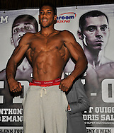 Picture by Alan Stanford/Focus Images Ltd +44 7915 056117<br />04/10/2013<br />Anthony Joshua MBE pictured during Matchroom Sports weigh in at The O2 Arena, London.
