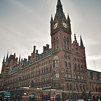 London St Pancras Station exterior view with London taxi