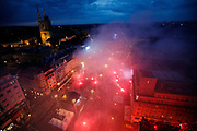 Croatia fans with flares on the main square
