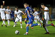 AFC Wimbledon midfielder Mitchell (Mitch) Pinnock (11) dribbling into the box during the EFL Trophy group stage match between AFC Wimbledon and U21 Swansea City at the Cherry Red Records Stadium, Kingston, England on 18 September 2018.