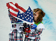 USA's Shaun White celebrates with bronze medalist Scott Lago after winning the gold medal in the men's halfpipe competition Wednesday.