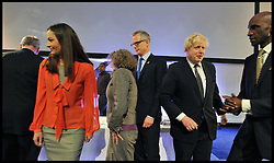 (L to R) Ken Livingstone, Siobhan Benita, Jenny Jones, Brian Paddick and Boris Johnson,  during the Black Britain Mayoral Election Debate, London, April 12, 2012. Photo By Andrew Parsons / i-Images.