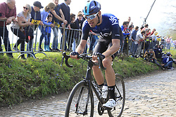 Filippo Ganna (ITA) Team Sky climbs the Koppenberg during the 2019 Ronde Van Vlaanderen 270km from Antwerp to Oudenaarde, Belgium. 7th April 2019.<br /> Picture: Eoin Clarke | Cyclefile<br /> <br /> All photos usage must carry mandatory copyright credit (© Cyclefile | Eoin Clarke)