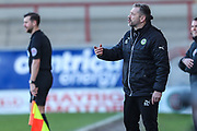 Forest Green Rovers assistant manager, Scott Lindsey during the EFL Sky Bet League 2 match between Morecambe and Forest Green Rovers at the Globe Arena, Morecambe, England on 17 February 2018. Picture by Shane Healey.
