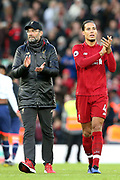 Liverpool Manager Jurgen Klopp and Liverpool defender Virgil van Dijk (4) during the Premier League match between Liverpool and Bournemouth at Anfield, Liverpool, England on 9 February 2019.