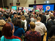01 MARCH 2020 - ST. LOUIS PARK, MINNESOTA: Dozens of Black Lives Matter (BLM) protesters disrupted Sen. Amy Klobuchar's last presidential election rally in Minnesota before Super Tuesday. Almost 500 Klobuchar supporters came to hear Sen. Klobuchar, when the BLM protesters marched into the hall and took control of stage. Klobuchar cancelled the event about an hour after the BLM protesters entered the hall. The protesters targeted Klobuchar because while she was the Hennepin County Attorney, she oversaw the conviction of Myon Burrell, a black teenager accused and convicted of murder. Evidence has come to light since his conviction that suggests he was wrongly convicted. His conviction has become a flashpoint in Minnesota politics.      PHOTO BY JACK KURTZ